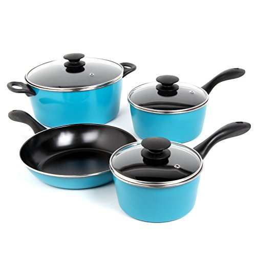 Cookware Set Pots And Pans Non-Stick Ceramic Coating 7 Piece Cooking Kitchen New (Pots And Pans Set Teal compare prices)