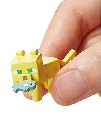 Minecraft Mini Figure 3-Pack, Attacking Ghast, Ocelot with Fish & Steve with Mismatch Armor