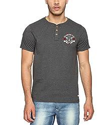 Adro Men's Cotton Henley T-Shirt (Charcoal Grey)