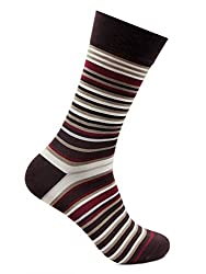 Bonjour Mens Cotton Rich Formal Narrow Striped Calf Length Signature Socks