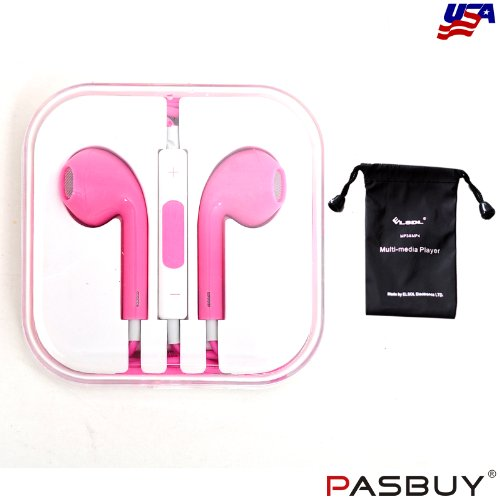 Pasbuy® 1044/Hot Pink Headset Earphone Headphone Earbuds With Remote Mic Volume For Iphone5 5S 4S Ipad Mini Mp3+Free Mp3 Of Sling Bag For Gift (Hot Pink)