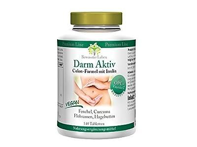 Biomenta Darm Aktiv - Spezialprodukt aus Flohsamenschalen, Curcuma Longa (Curcumin) - 140 Tabletten