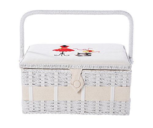 Professional Sewing Kit With Rectangular Sewing Accessories Basket Organizer and Sewing Supplies 13 x 9 x 6 Inches by Juvale (Sewing Basket With Supplies compare prices)