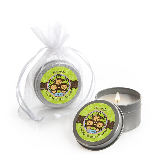 Triplet Monkeys 2 Boys & 1 Girl - Personalized Baby Shower Candle Tin Favors front-28922