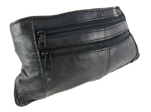 Black Nappa Leather Belt Style Travel Bag Wallet Money