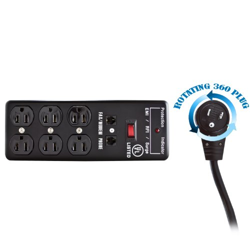Surge Protector, Flat Rotating Plug, 6 Outlet, Black, Metal, Commercial Grade, 1 X3 MOV, EMI & RFI, Modem Protector, Power Cord 10 foot - Commercial wall Mount Suppressor power strip wire (Tripp Light Line Conditioner compare prices)