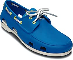 Crocs Men's Ocean and White Boat Shoes - M10