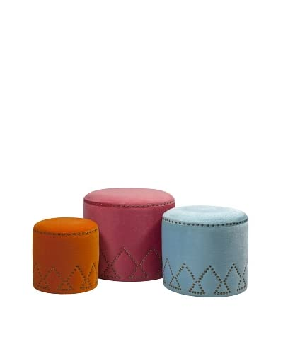 Set of 3 Mickie Ottomans As You See