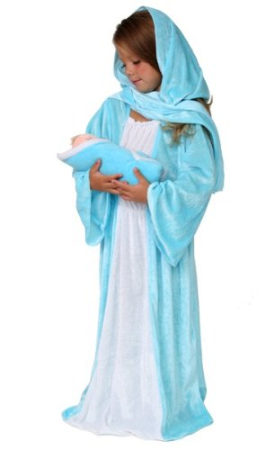 Nativity Mary Dressup Costume & Plush Baby Jesus Doll Holiday Christmas Pageant Play
