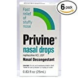 Privine Nasal Drops, 0.83 fl oz,  Boxes (Pack of 6)