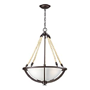 Elk 63013-3 Natural Rope 3-Light Pendant, Aged Bronze