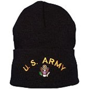Embroidered Watch Cap -Black (US Army)