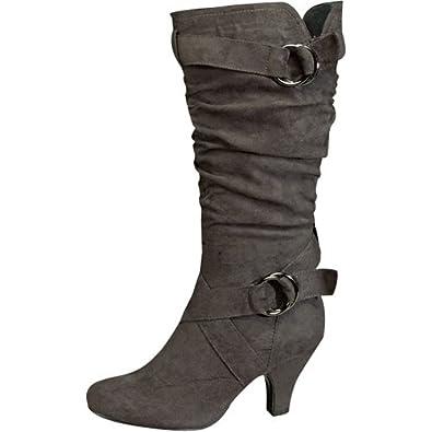 Amazon.com: Top Moda Auto-01 Mid-calf Grey Slouch Boots (10): Shoes