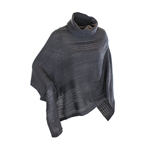 Grey Knit Cowl Neck Poncho Shawl Wrap in Beige, Black & Grey - Tunic Length (Knit Cowl Poncho compare prices)