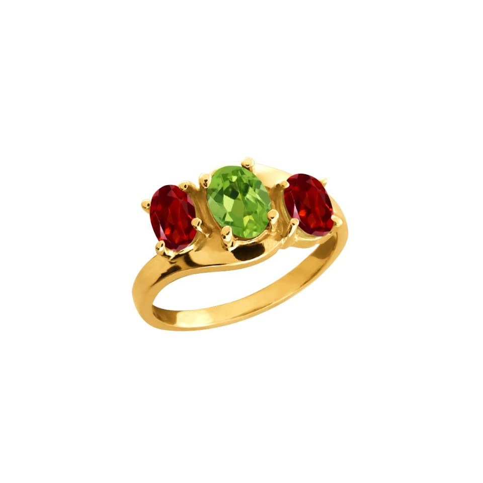 1.90 Ct Oval Green Peridot and Red Garnet 14k Yellow Gold Ring