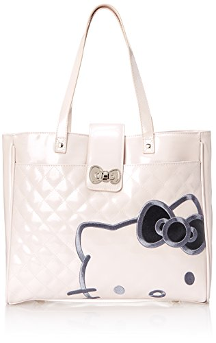 Hello Kitty with Silver Bow Face On Pink Quilted Tote Shoulder Bag, Multi, One Size (Hello Kitty Quilted Purse compare prices)