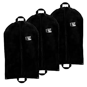 3 Pack - Breathable Garment Bag Cover w 2 Handles and Full Zipper