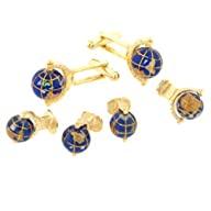 JJ Weston spinning globe cufflinks and shirt stud formal set. Made in the U.S.A