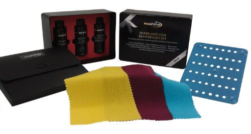 Nushine Silver and Gem Reviver Gift Set - a complete kit (includes Silver Plating solution, Silver Maintenance Solution, Silver Polish, Magic Cleaning Plate, Silver Cloth, Gem Cloth, Polishing Cloth, Keep safe wallet and presentation box)