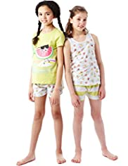 2 Pack Pure Cotton Surf Fruit Shortie Pyjamas