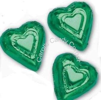 Green Solid Milk Chocolate Hearts (1/2 Lb - 30 Pcs)