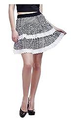 Peptrends Women's Flared Skirt (Black and White)