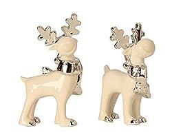 Hier kaufen Sie diese tollen Elch Figuren im 2er Set.    Die Figuren sind ca. 12cm bis 13,5cm groß.    Sie sind aus Polystein gefertigt und handbemalt.    Lieferumfang: 2 Stück