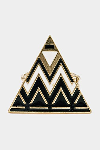Glitz Finery Chevron Pattern On A Triangle Stretch Ring (Gold/Black)