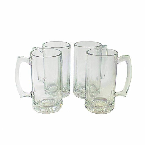 Greenbrier International Heavy Duty Glass Beer Mug Set of 4 (26.5 Oz) (Heavy Duty Beer Glasses compare prices)