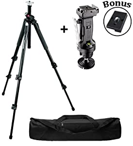 Manfrotto 190XPROB Tripod Legs with 222 Joystick Grip Head and a Padded Case and a Bonus Quick Release Plate for the RC2 Rapid Connect Adapter