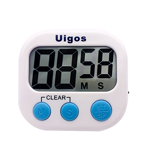 Uigos Digital Kitchen Timer II 2.0 , Big Digits, Loud Alarm, Magnetic Backing, Stand, for Cooking Baking Sports Games Office (White) (1 Pack) (Kitchen Timer Bird compare prices)