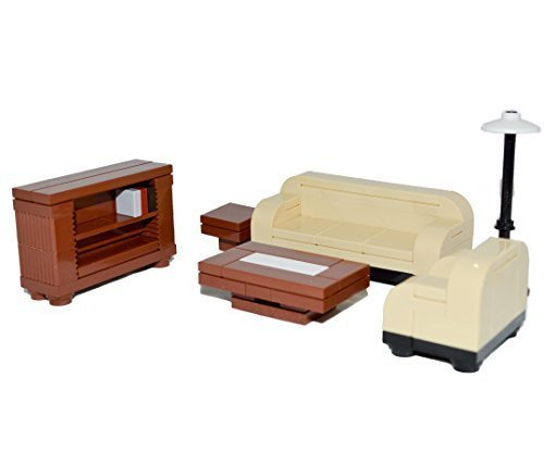 LEGO Furniture: 6 Piece Seating Collection (Tan) - Couch, Chair, Bookshelf, Tables & Lamp