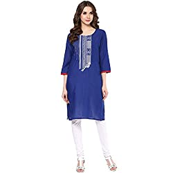 Rangmanch by Pantaloons Womens Voile Solid Kurta Blue_2XL