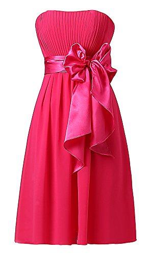 Ouman Sweetheart Bridesmaid Chiffon Prom Dresses Short Evening Gowns Fucshsia 2XL