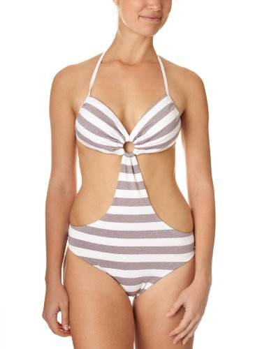 Moontide Retro Knitted Lurex Bandeau Cut Out Suit