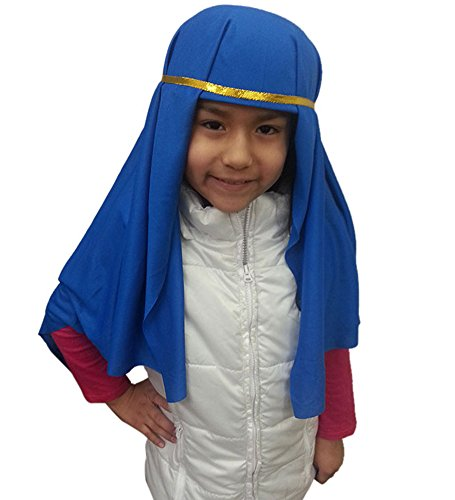 Kids Blue Nativity Hat - Nativity Hat In Blue With Golden Ribbon For Costume Costume