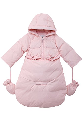 Oceankids Baby Girls Newborn Pram Down Bunting Snowsuit Detachable Bottom Pink 12M 9-12 Months