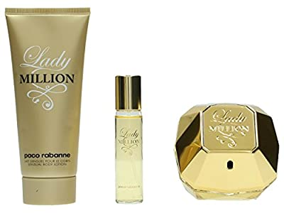 Paco Rabanne Lady Million 3 Piece Gift Set (2.7oz Eau de Parfum Spray + 3.4oz Body Lotion + 15ml Purse Spray)