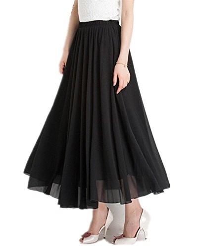 Mullsan Women Retro Vintage Double Layer Chiffon Pleat Maxi Long Skirt Dress (Black)
