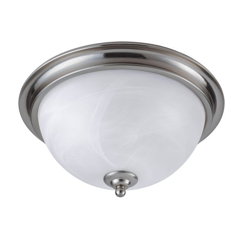 Westinghouse 64094 Brandt Point Two-Light Flush Mount Ceiling Fixture, Brushed Nickel Finish With White Alabaster Globes