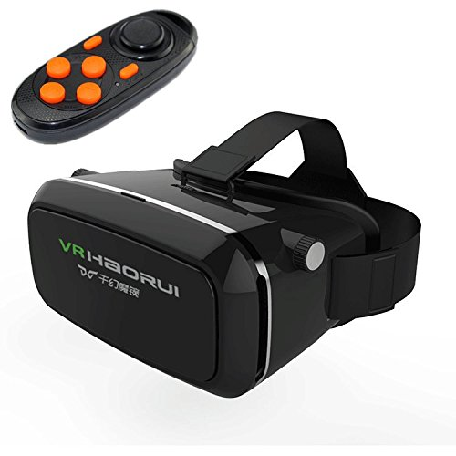 """FLYMAY 3D VR, Virtual Reality 3D Glasses Google Cardboard Headset Head Mount VR BOX + Bluetooth Remote Control for 3.5-6.0"""" IOS/Android/PC Smartphone for 3D Movie/Games"""