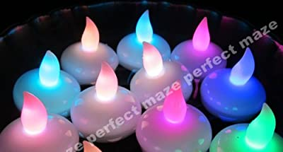 Perfectmaze 12 Piece Home Battery Operated Floating Tealight LED Candles, Great for Wedding Centerpiece, Christmas, Thanksgiving, Party Lights, Set of 12 - Changing Color