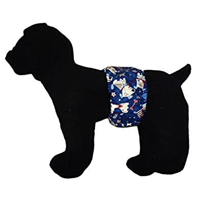 Barkerwear Male Dog Diaper - Patriotic Doggie with Glitter Washable Belly Band Male Wrap for Housebreaking, Male Marking and Incontinence