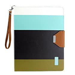 Gearonic Wallet PU Leather Card Holder Magnetic Flip Cover Case Stand for iPad 2/3/4 Multi Color (AV-5374LPUIB)