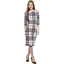 RARE White Polyester Spandax Striped Medium Dress For Women