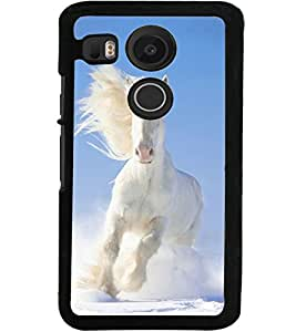 ColourCraft Beautiful White Horse Design Back Case Cover for LG GOOGLE NEXUS 5X