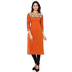 Kvsfab straight cut kurti(Cotton_orange colour_KVSKR03FUSION)