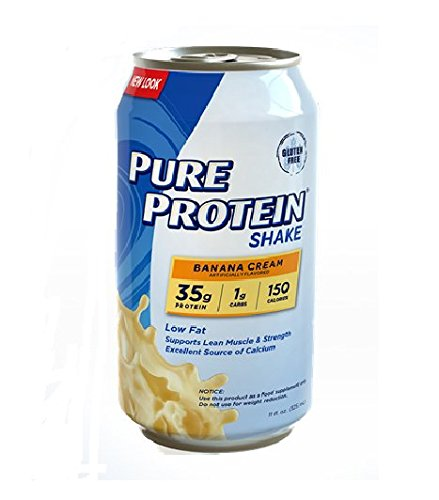 Pure Protein 35g Shake – Banana Cream, 11 ounce (Pack of 12)