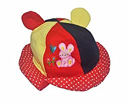 BabySid Collections CUTE ROUND CAP- BSREDMULTCAP DARK RED MULTI (6 MONTHS+)