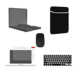 TOP CASE 5 in 1 Bundle - Crystal Hard Case Cover + Sleeve Bag + Wireless Mouse + Silicone Keyboard Skin + Screen Protector for Macbook Pro 13\